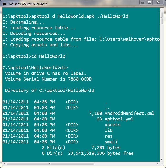 apktool windows 7 64 bit